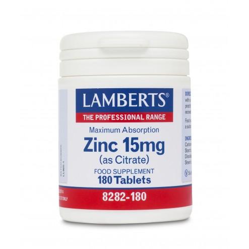 Lamberts  Zinc 15mg  (as Citrate) 180 Tabs
